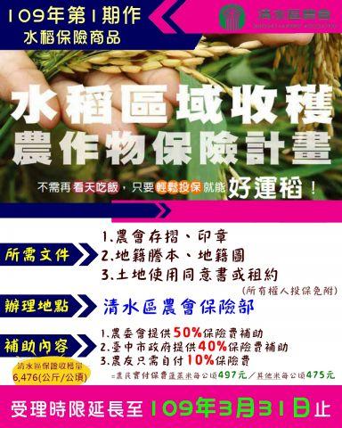 109年第1期作水稻保險,受理時限延長至3月底