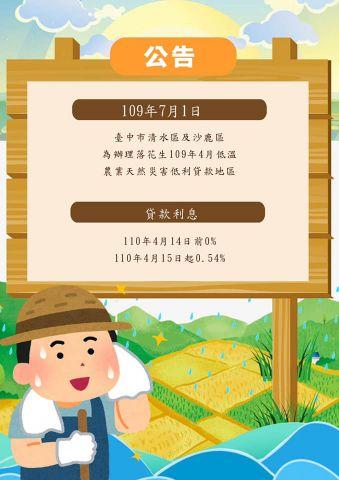 109年7月1日公告臺中市清水區及沙鹿區為辦理落花生109年4月低溫農業天然災害低利貸款地區